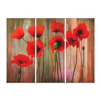 Poppies, Watercolors Canvas Print
