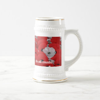 Poppies, We will remember Beer Stein