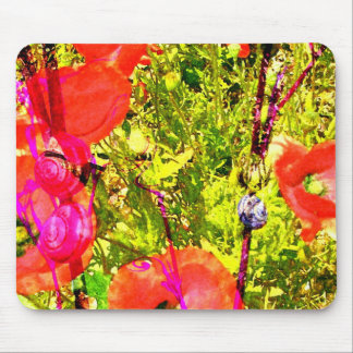poppies with snails mouse pad