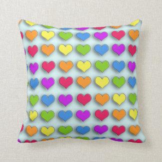 Poppin Retro Hearts Throw Pillows