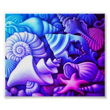 Beach Themed Poppin Sea Shell Colors on a Value Poster