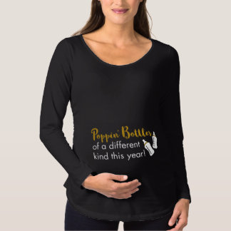 Popping Bottles Happy New Year Baby Announcement Maternity T-Shirt