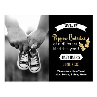Popping Bottles Happy New Year Baby Announcement Postcard