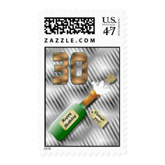 Popping Champagne Bottle 30th Birthday stamp