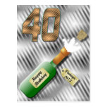 Popping Champagne Bottle 40th Birthday Postcard