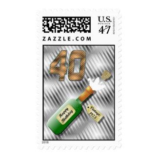 Popping Champagne Bottle 40th Birthday stamp