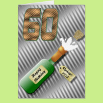 Popping Champagne Bottle 60th Birthday Card