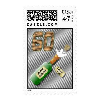 Popping Champagne Bottle 60th Birthday stamp