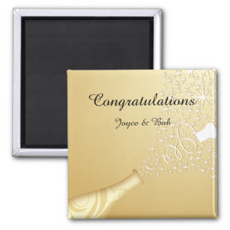 Popping Champagne  in Gold 2 Inch Square Magnet