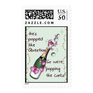 Popping Corks Funny Wedding Invitation Postage