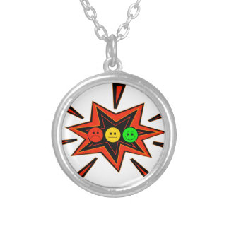 Popping Horizontal Moody Stoplight Silver Plated Necklace