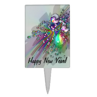 Popping the Cork - New Year Bubbles Rectangular Cake Topper