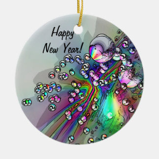 Popping the Cork - New Year Bubbles Ceramic Ornament