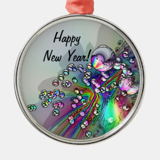 Popping the Cork - New Year Bubbles Metal Ornament