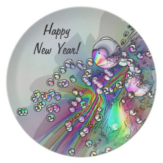 Popping the Cork - New Year Bubbles Dinner Plates
