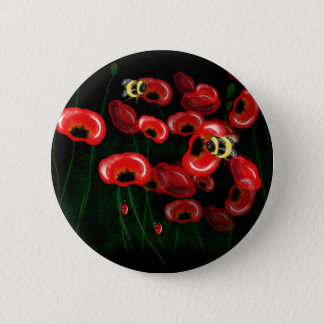 POPPY and BEE art Pinback Button