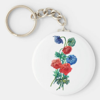 Poppy Anemones Drawn from Nature Keychain