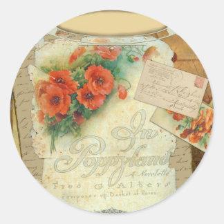 Poppy Antique Music Sheet Pastiche Classic Round Sticker