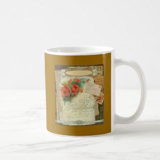 Poppy Antique Music Sheet Pastiche Coffee Mug