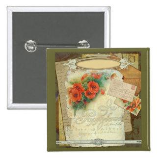 Poppy Antique Music Sheet Pastiche Pinback Button