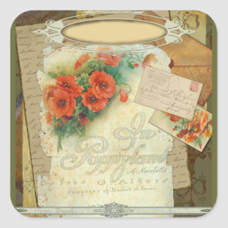 Poppy Antique Music Sheet Pastiche Square Sticker