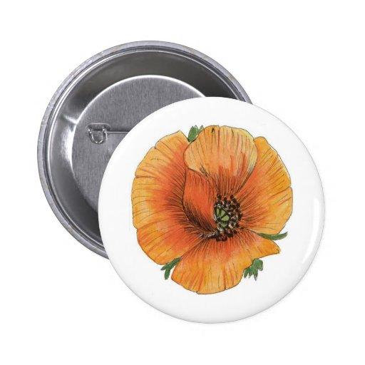 Poppy art 2 inch round button