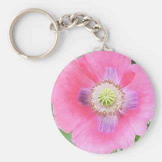 Poppy Bloom - Papaver Somniferum Basic Round Button Keychain