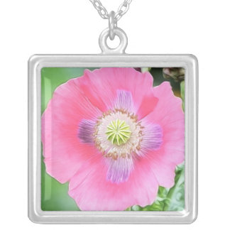 Poppy Bloom - Papaver Somniferum Square Pendant Necklace
