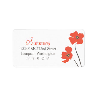 Poppy Blossom Address Label