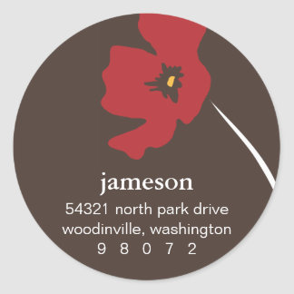 Poppy Blossom Round Address Label
