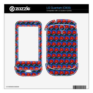 Poppy. Blue and Red Floral Pattern. Skins For LG Quantum