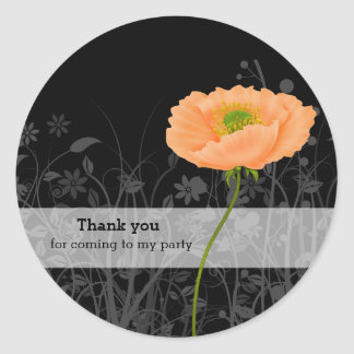 Poppy * choose background color classic round sticker