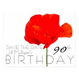 POPPY Collection 90th Birthday Save the Date Postcard