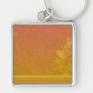 Poppy Daisy Hosta Red Orange Silver-Colored Square Keychain