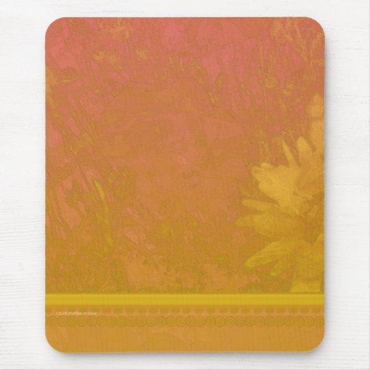Poppy Daisy Hosta Red Orange Mouse Pad