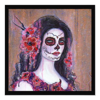Poppy day of the dead blank card by Renee