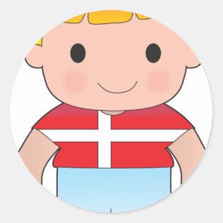 Poppy Denmark Boy Round Stickers