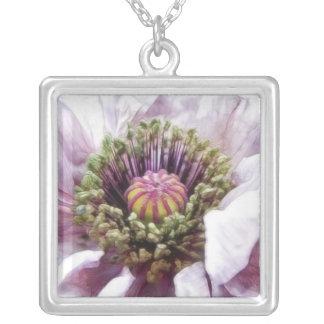 Poppy - Elegant Purple Ruffles Square Pendant Necklace