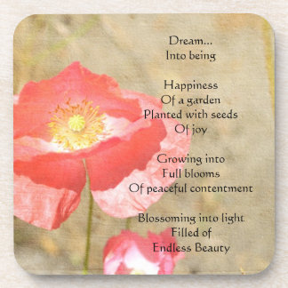Poppy Expressions Happiness Poem Coaster Set