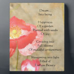 "Poppy Expressions Happiness Poem Photo Plaque<br><div class=""desc"">poem written by me</div>"