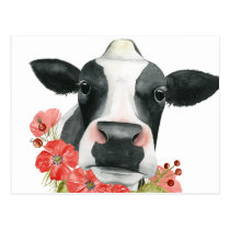 Poppy Farm - Cow with Flowers Postcard