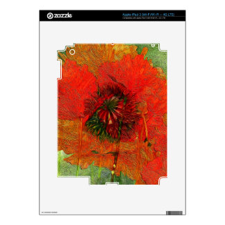 Poppy Field 13 Luscious Red Floral Decal For iPad 3