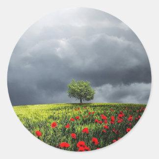 Poppy Field and Cloudy Sky Classic Round Sticker