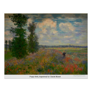 Poppy field, Argenteuil by Claude Monet Poster