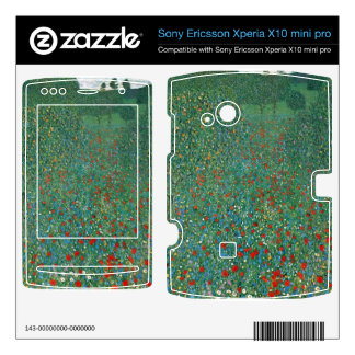 Poppy Field by Gustav Klimt Xperia X10 Skin