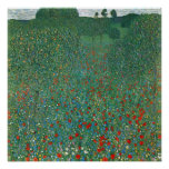 Poppy Field by Gustav Klimt, Vintage Floral Flower Posters