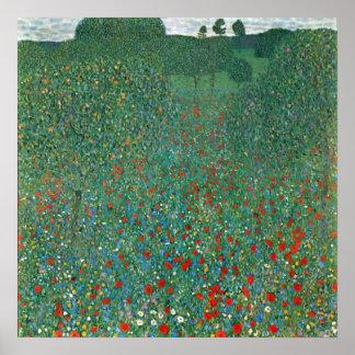Poppy Field by Gustav Klimt Vintage Floral Flower Posters