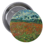 Poppy Field by Vincent Van Gogh Buttons