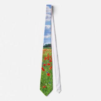 poppy field english summer landscape tie