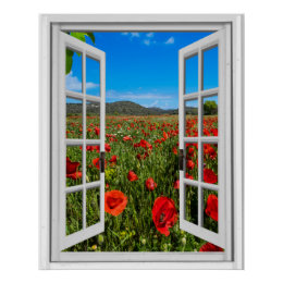 Poppy Field Faux Artificial Window View Poster